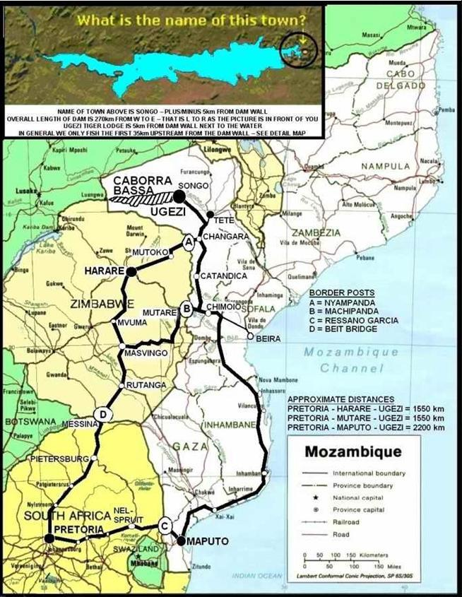 Map of Cahorra Bassa in Mozambique