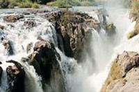 On the northern border of Namibia Epupa falls is an amazing sight in such a dr country