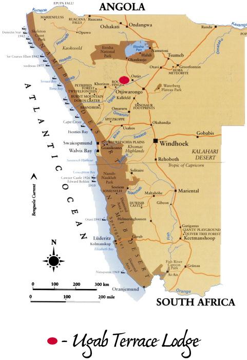 Ugab terrace lodge damaraland namibia map for The terrace location