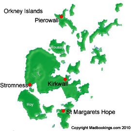 Map of Orkney Islands Scotland