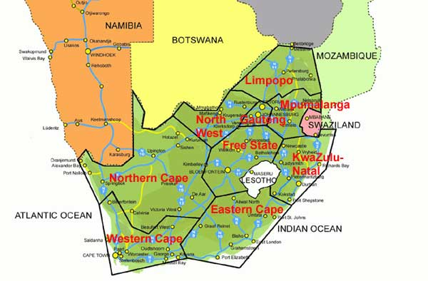 maps of south africa provinces. map of south africa provinces.