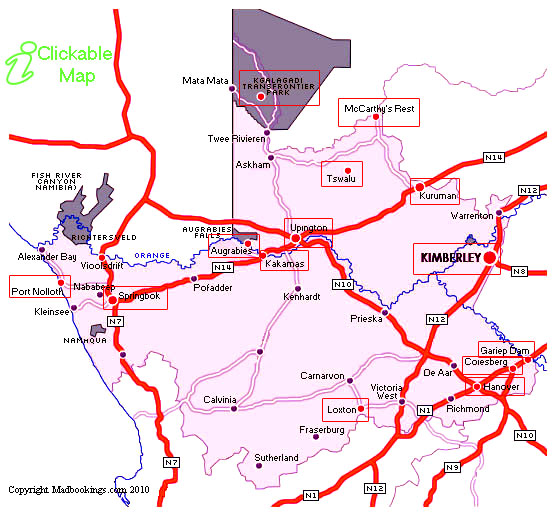 Map Of The Northern Cape Province